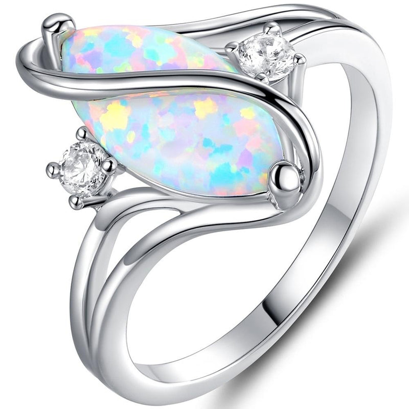 Oval-Cut White Fire Opal and Cubic Zirconia S Ring - Size: 10 Jewelry - DailySale