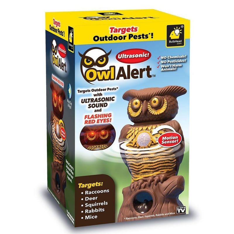 Owl Alert Statue - Targets Outdoor Pests Like Racoons, Deer, Rabbits, Squirrels, Mice and More Home Essentials - DailySale
