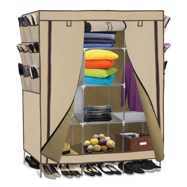 OxGord Portable Wardrobe Closet Organizer with Shoe Pockets - Assorted Colors Home Essentials Beige - DailySale