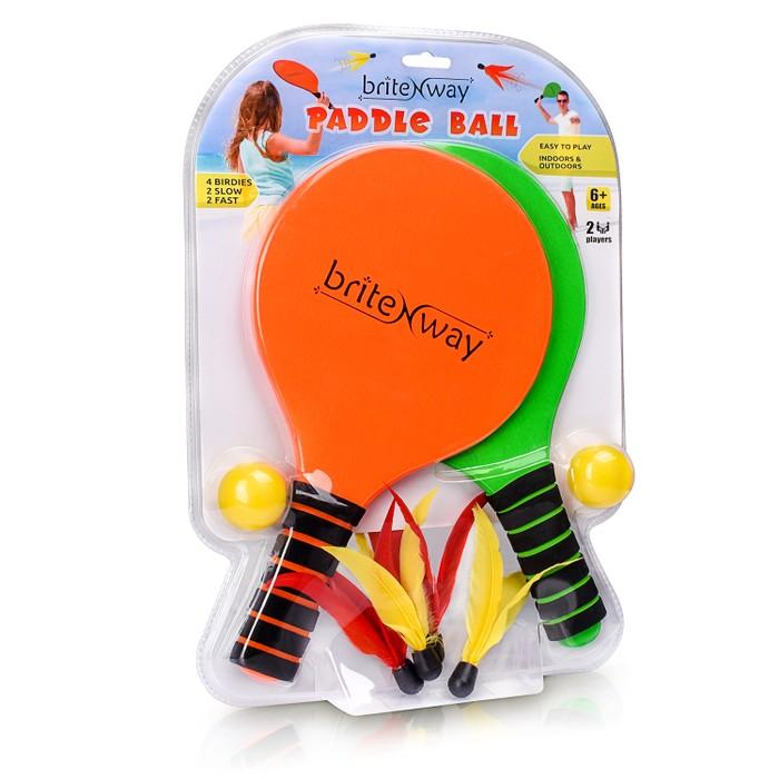 Paddle Ball Game Bundle With 2 Wooden Racket Paddles Toys & Games - DailySale