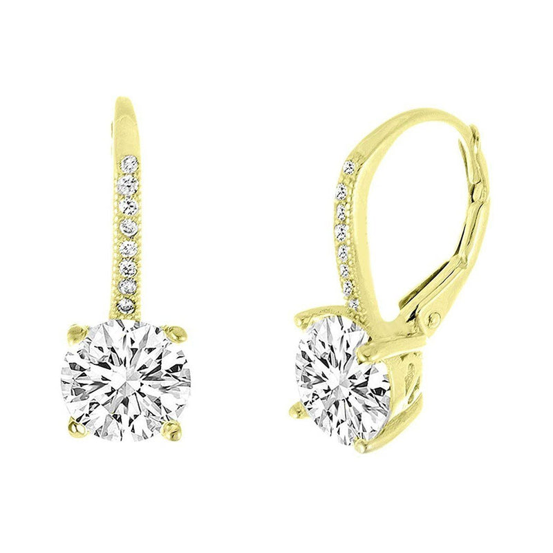 Pave Leverback Earrings in 18K Gold with Swarovski Elements Jewelry Gold - DailySale