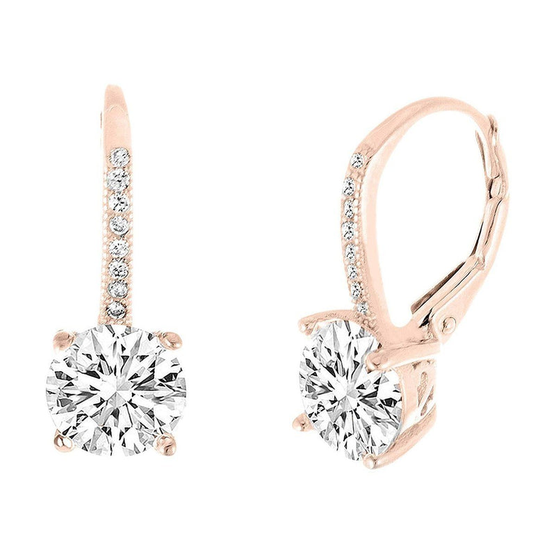 Pave Leverback Earrings in 18K Gold with Swarovski Elements Jewelry Rose Gold - DailySale