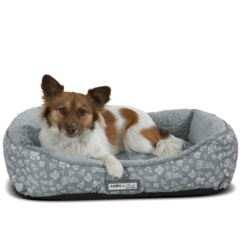 Paws & Pals Print Pet Bed Pet Supplies S Gray - DailySale