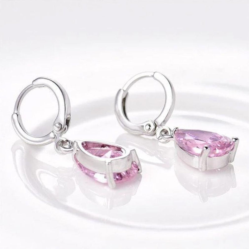 Pear Cut Pink Topaz Drop Earrings Made with Swarovski Crystals Jewelry - DailySale