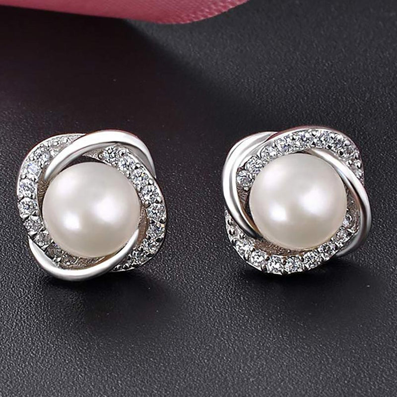 Pearl And Swarovski Crystal Love Studs In White Gold Jewelry - DailySale
