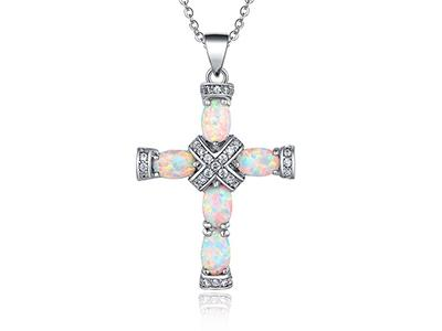 Peermont Genuine Fire Opal and Diamond Accent Cross Necklace Jewelry - DailySale