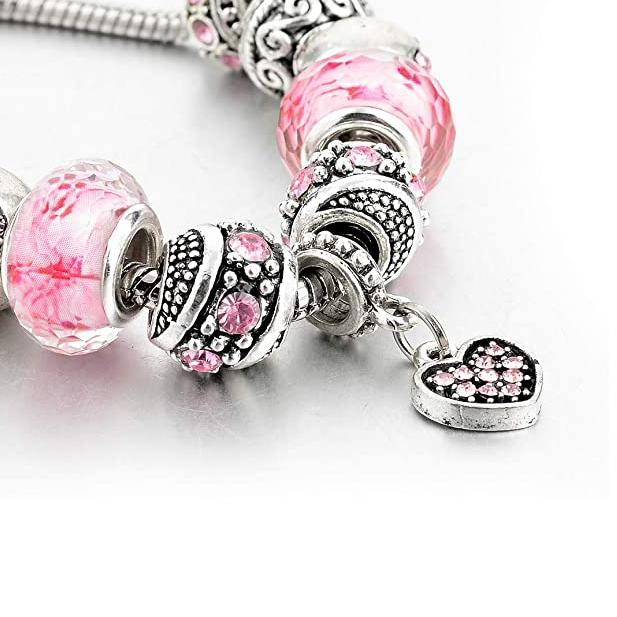 Pink Crystal Love Heart Bead Glass Charm Bracelet with Extender Bracelets - DailySale