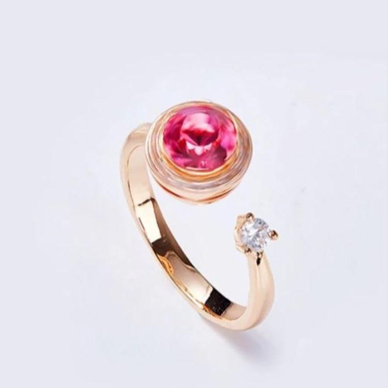 Pink Topaz Pave Adjustable Ring Made with Swarovski Crystals Jewelry - DailySale