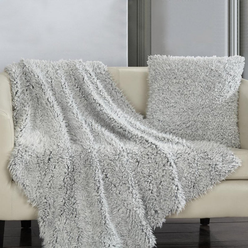 Plush Throw Blanket and Pillow Set Linen & Bedding Gray - DailySale