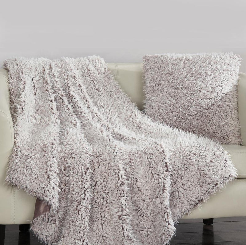 Plush Throw Blanket and Pillow Set Linen & Bedding Mauve - DailySale