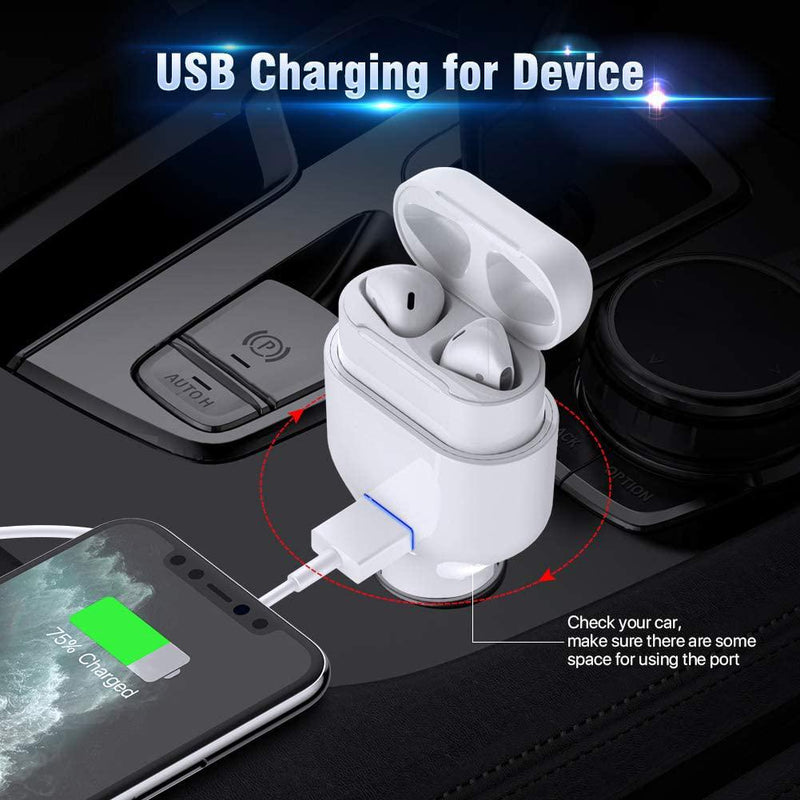 Poleet Car Charger With Charging Adapter for AirPods 1 and 2 Automotive - DailySale
