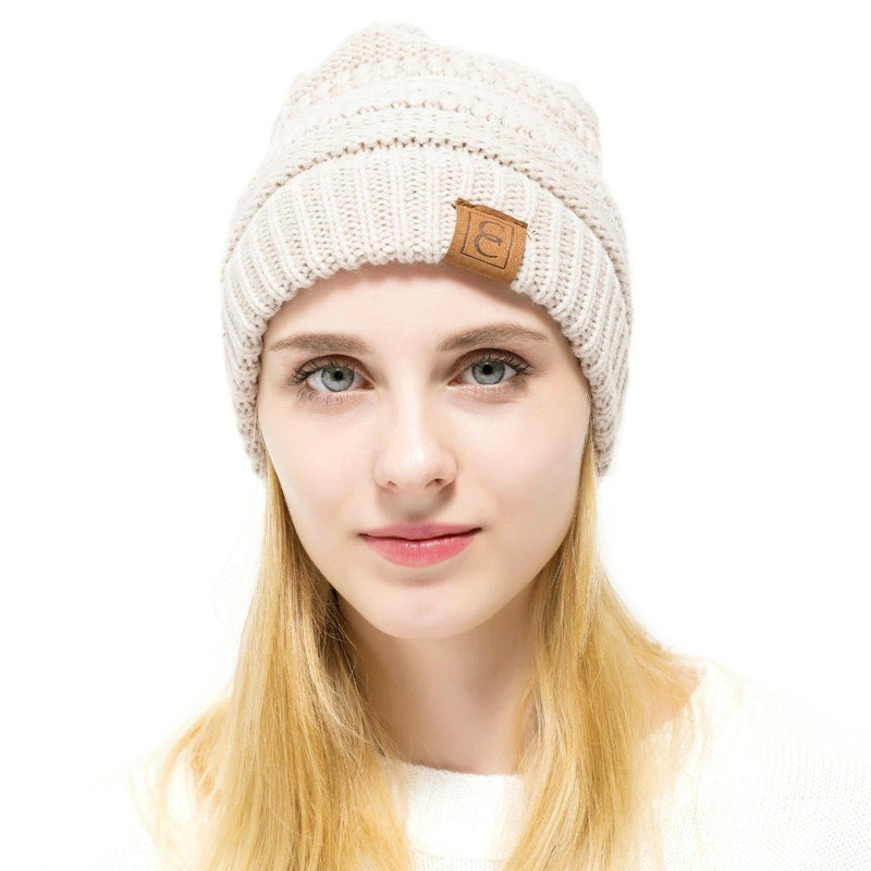 Popular CC Chic Winter Beanie Hat Women's Apparel Beige - DailySale