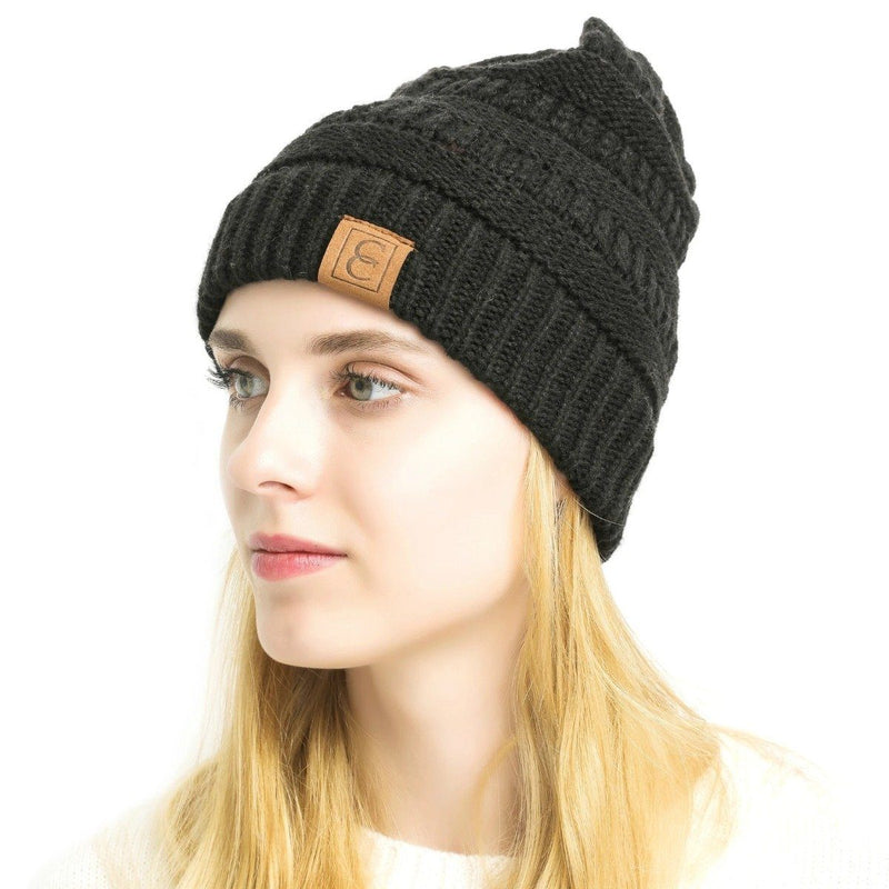 Popular CC Chic Winter Beanie Hat Women's Apparel Black - DailySale