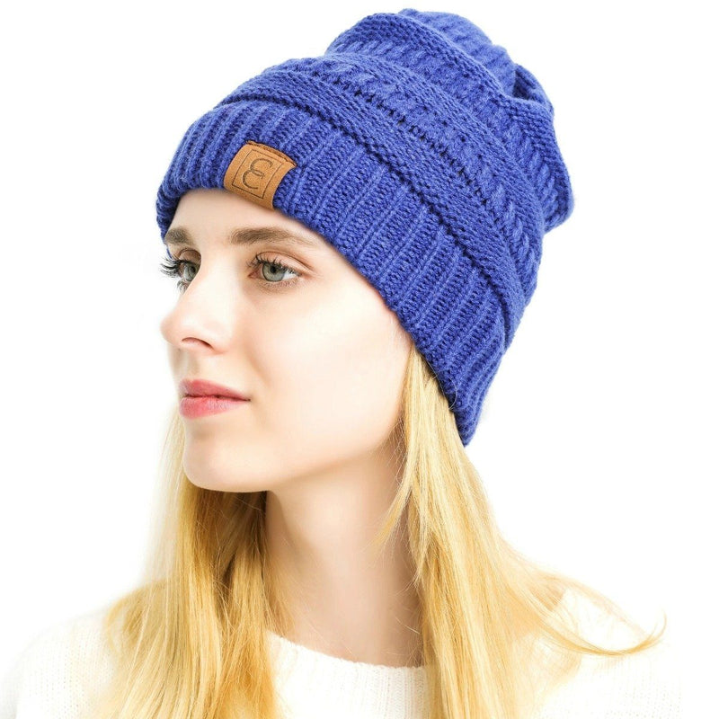 Popular CC Chic Winter Beanie Hat Women's Apparel Blue - DailySale