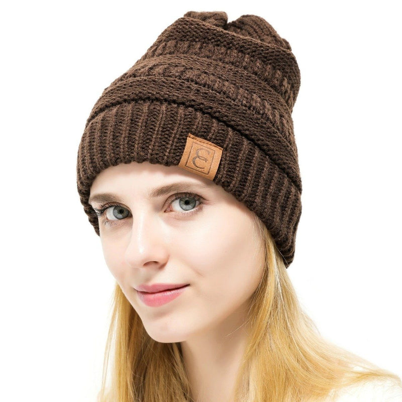 Popular CC Chic Winter Beanie Hat Women's Apparel Brown - DailySale