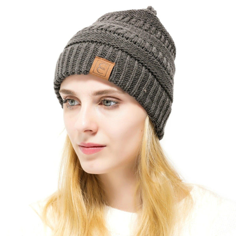 Popular CC Chic Winter Beanie Hat Women's Apparel Charcoal - DailySale
