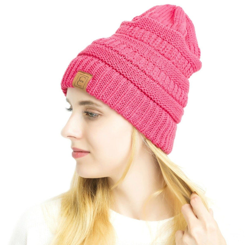Popular CC Chic Winter Beanie Hat Women's Apparel Dark Pink - DailySale