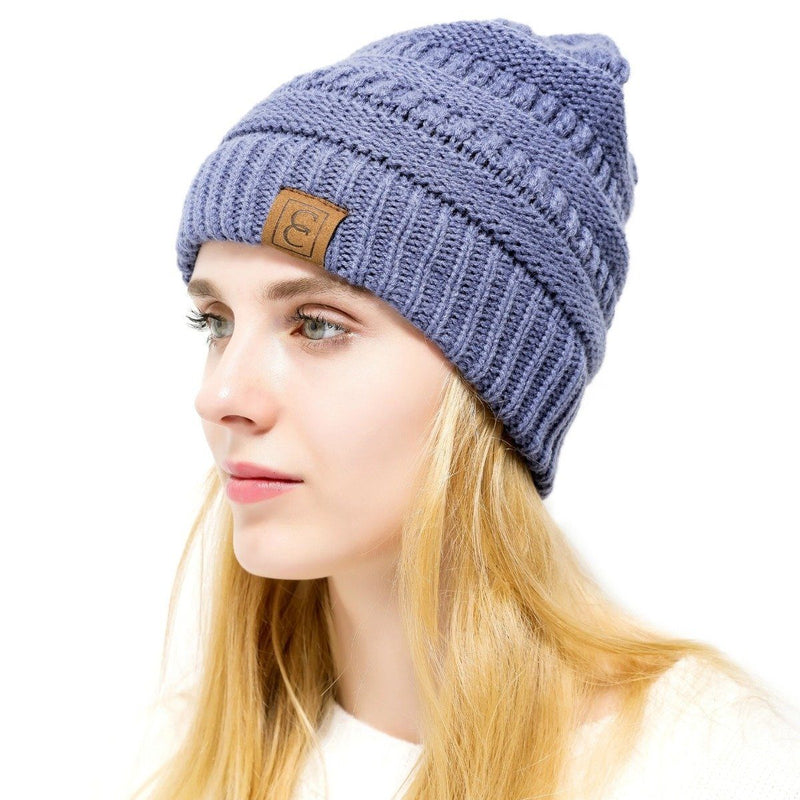 Popular CC Chic Winter Beanie Hat Women's Apparel Faded Blue - DailySale