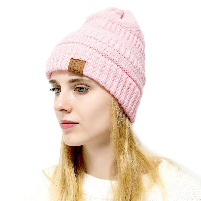 Popular CC Chic Winter Beanie Hat Women's Apparel Light Pink - DailySale