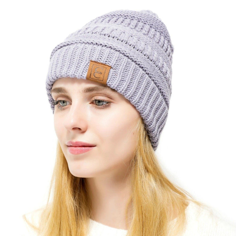 Popular CC Chic Winter Beanie Hat Women's Apparel Light Purple - DailySale