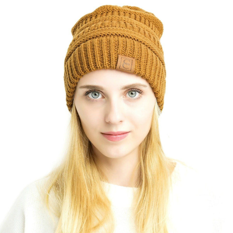 Popular CC Chic Winter Beanie Hat Women's Apparel Mustard - DailySale