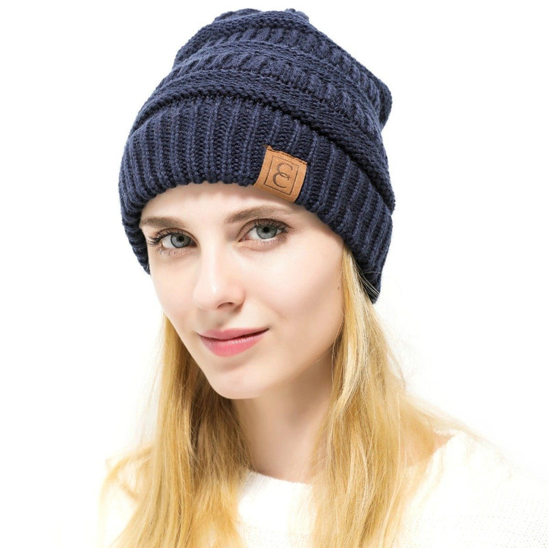 Popular CC Chic Winter Beanie Hat Women's Apparel Navy Blue - DailySale