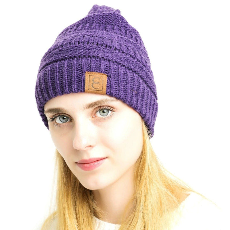 Popular CC Chic Winter Beanie Hat Women's Apparel Purple - DailySale
