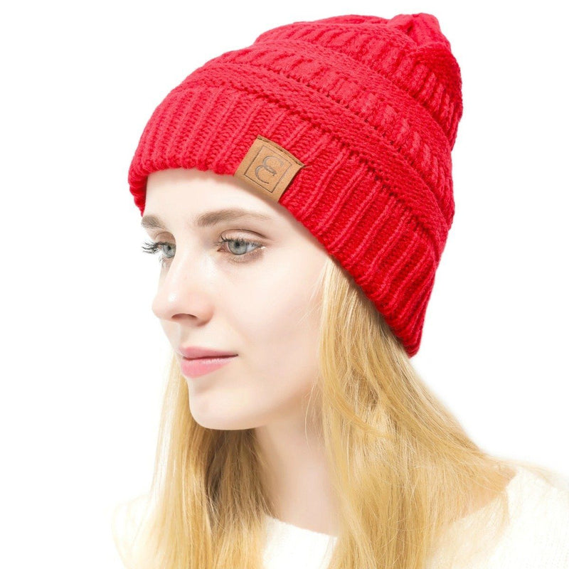 Popular CC Chic Winter Beanie Hat Women's Apparel Red - DailySale