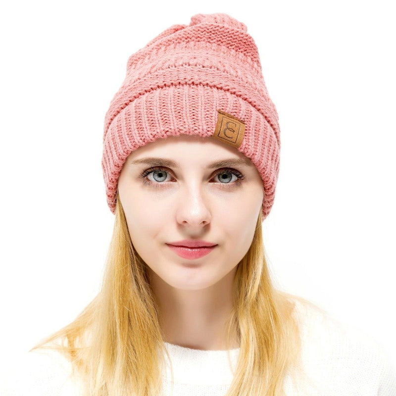 Popular CC Chic Winter Beanie Hat Women's Apparel Salmon - DailySale