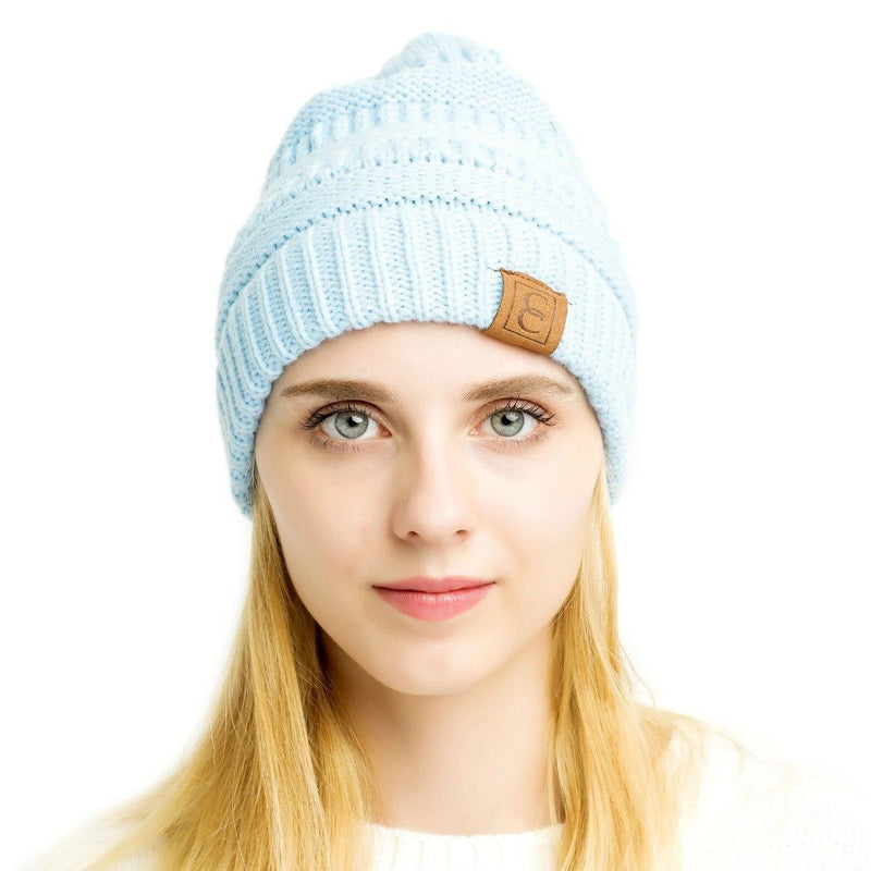 Popular CC Chic Winter Beanie Hat Women's Apparel Sky Blue - DailySale