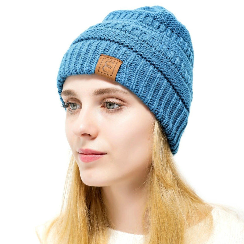 Popular CC Chic Winter Beanie Hat Women's Apparel Turquoise - DailySale