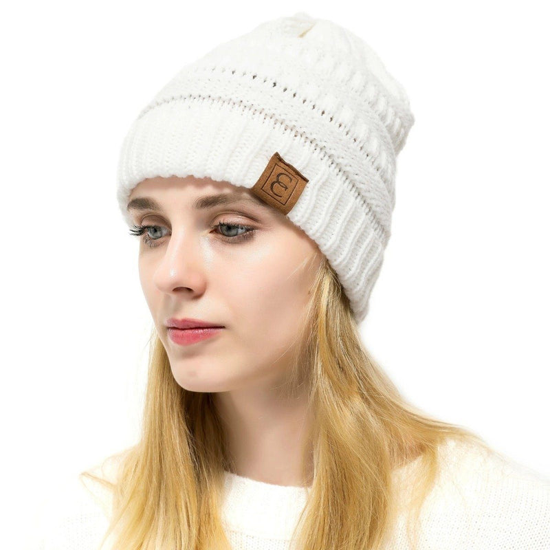 Popular CC Chic Winter Beanie Hat Women's Apparel White - DailySale