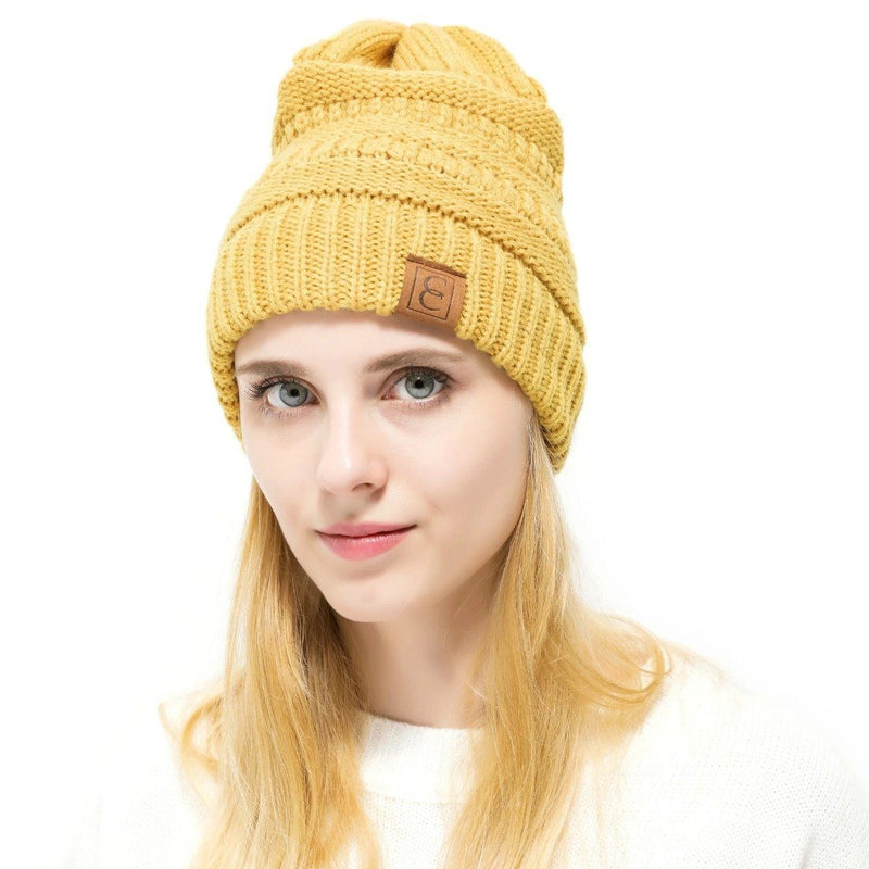 Popular CC Chic Winter Beanie Hat Women's Apparel Yellow - DailySale