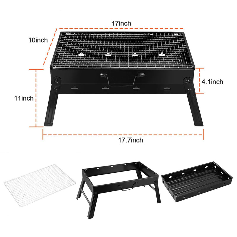 Portable Barbecue Grill Foldable Charcoal Sports & Outdoors - DailySale