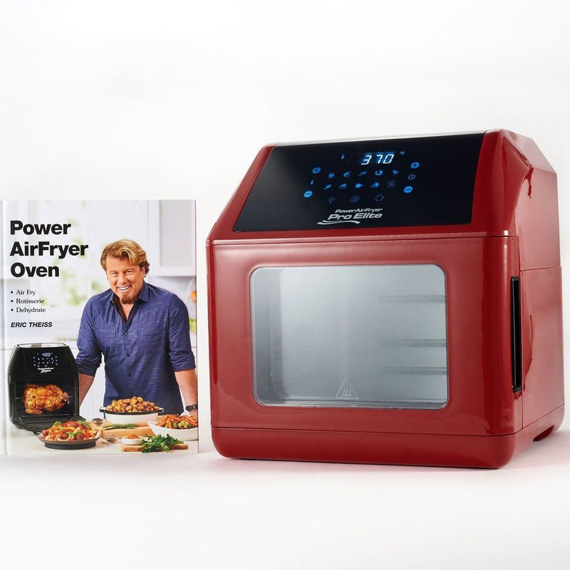Power Air Fryer 10-in-1 Pro Elite Oven 6-qt with Cookbook Kitchen Essentials Dark Red - DailySale