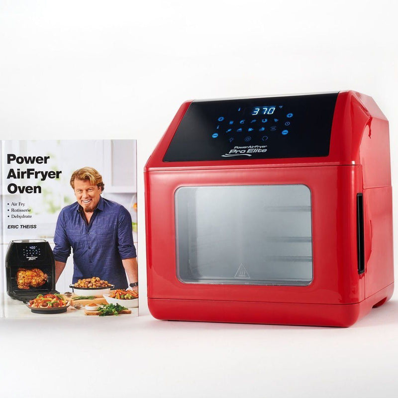 Power Air Fryer 10-in-1 Pro Elite Oven 6-qt with Cookbook Kitchen Essentials Red - DailySale