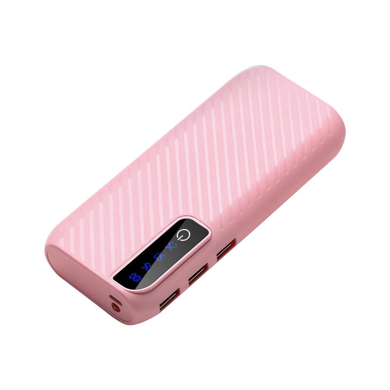 Power Bank With 3 USB Ports and Flashlight Mobile Accessories Pink - DailySale