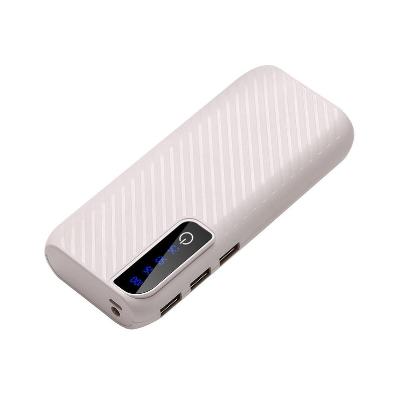 Power Bank With 3 USB Ports and Flashlight Mobile Accessories White - DailySale
