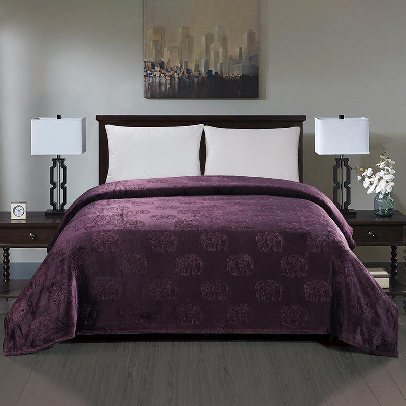 Premium Flannel Fleece Elephant Design Blanket Bed & Bath Queen Plum - DailySale