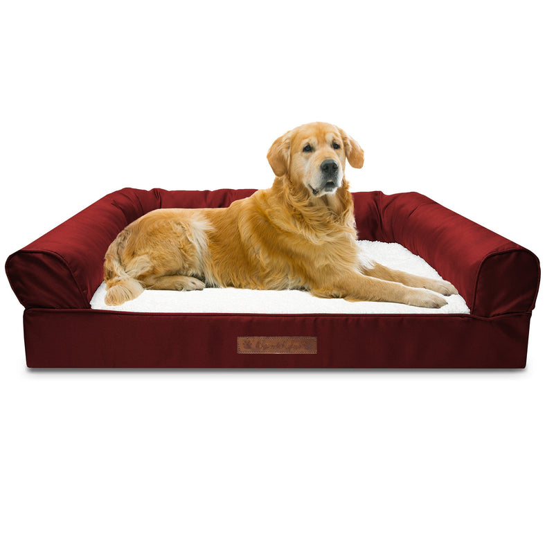 Premium Sofa-Style Orthopedic Pet Bed Pet Supplies Jumbo Garnet - DailySale