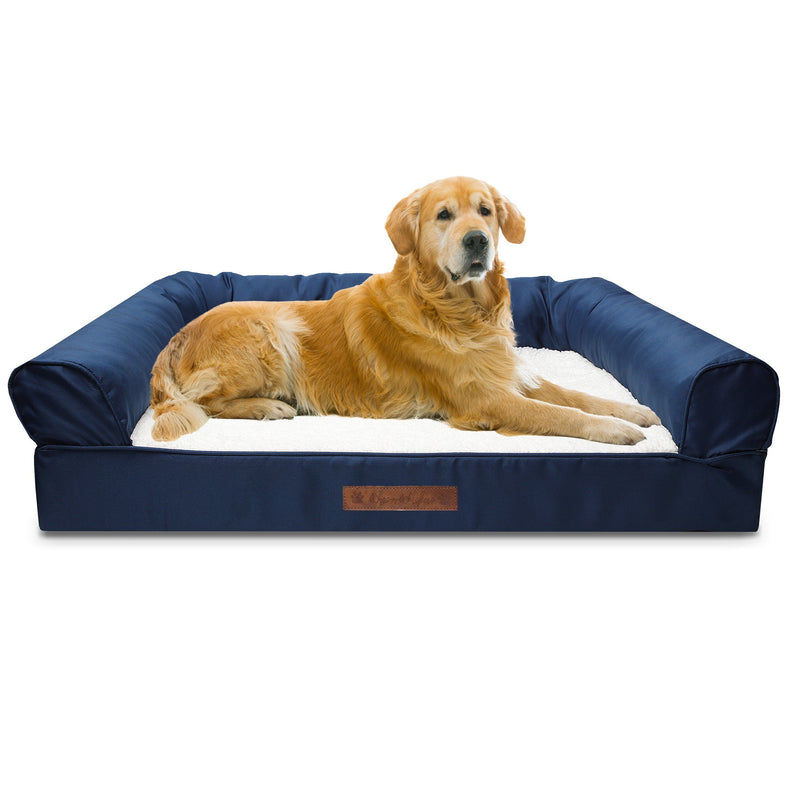 Premium Sofa-Style Orthopedic Pet Bed Pet Supplies Jumbo Navy - DailySale