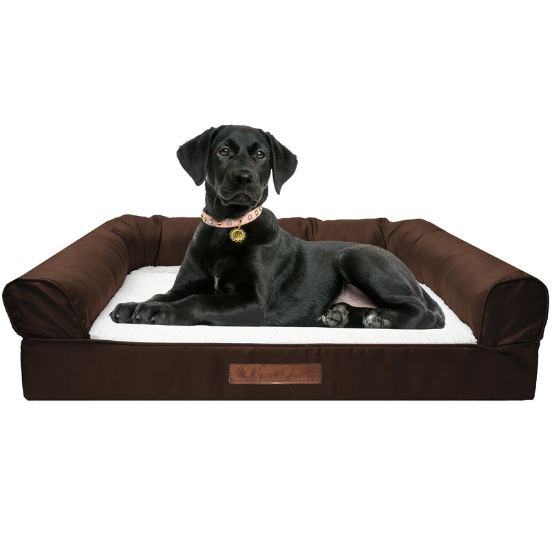 Premium Sofa-Style Orthopedic Pet Bed Pet Supplies Large Chocolate - DailySale