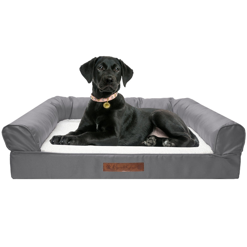 Premium Sofa-Style Orthopedic Pet Bed Pet Supplies Large Gray - DailySale