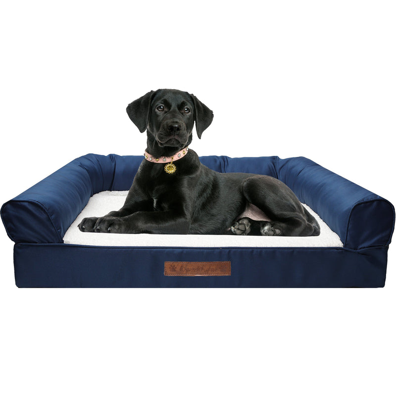 Premium Sofa-Style Orthopedic Pet Bed Pet Supplies Large Navy - DailySale