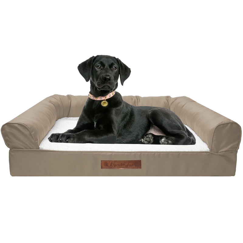 Premium Sofa-Style Orthopedic Pet Bed Pet Supplies Large Taupe - DailySale