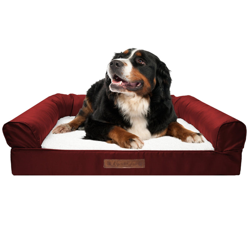 Premium Sofa-Style Orthopedic Pet Bed Pet Supplies Medium Garnet - DailySale