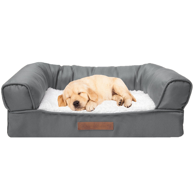 Premium Sofa-Style Orthopedic Pet Bed Pet Supplies Small Gray - DailySale