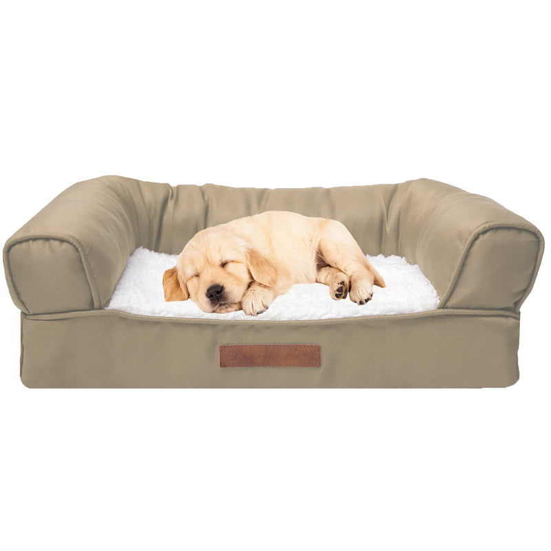Premium Sofa-Style Orthopedic Pet Bed Pet Supplies Small Taupe - DailySale