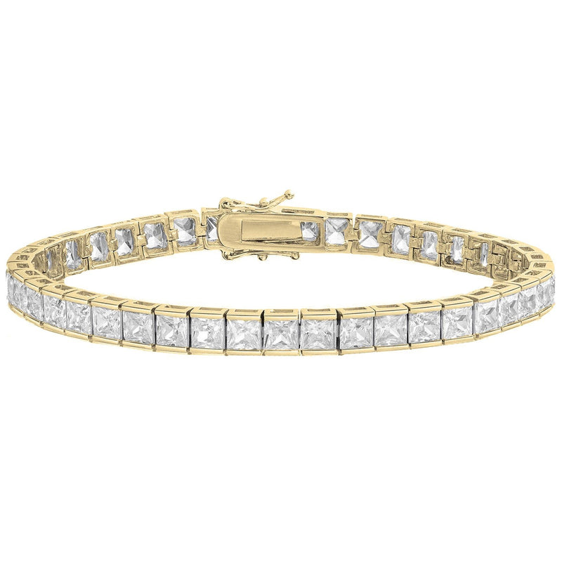 Princess Cut Crystal Tennis Bracelet Bracelets Gold - DailySale