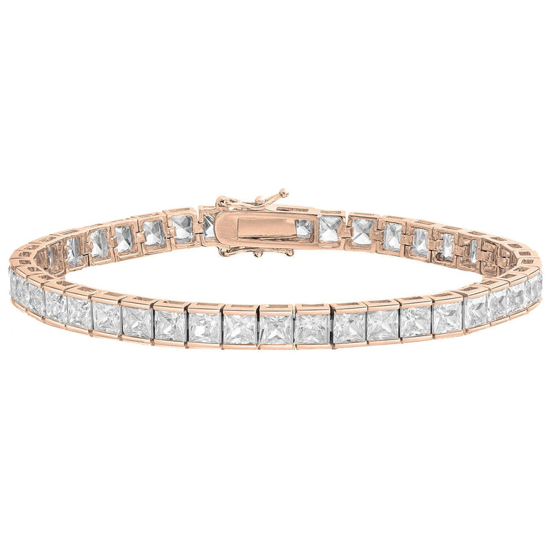 Princess Cut Crystal Tennis Bracelet Bracelets Rose Gold - DailySale